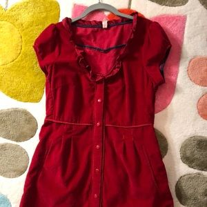 Anthropologie Maeve Red stretch corduroy dress 6